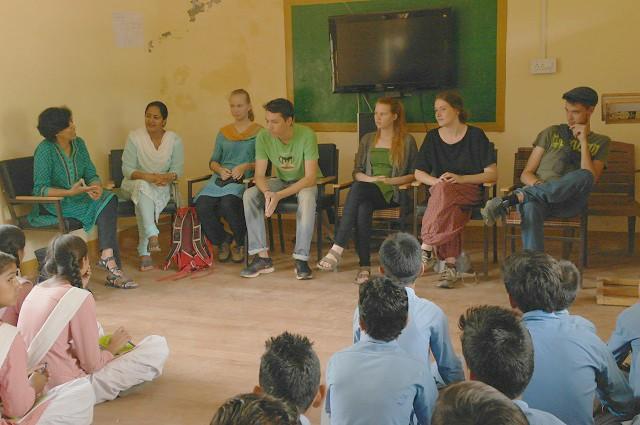 Interacting with school children