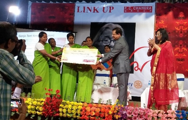 Women being awarded by Mr Prasanta Chandra, the Managing Director of PC Chandra Group